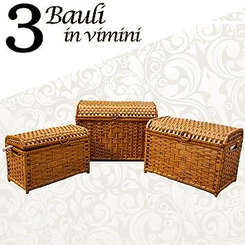 Bakaji Tris 3 Bauli In Vimini Intrecciato Colore Marrone Con ...