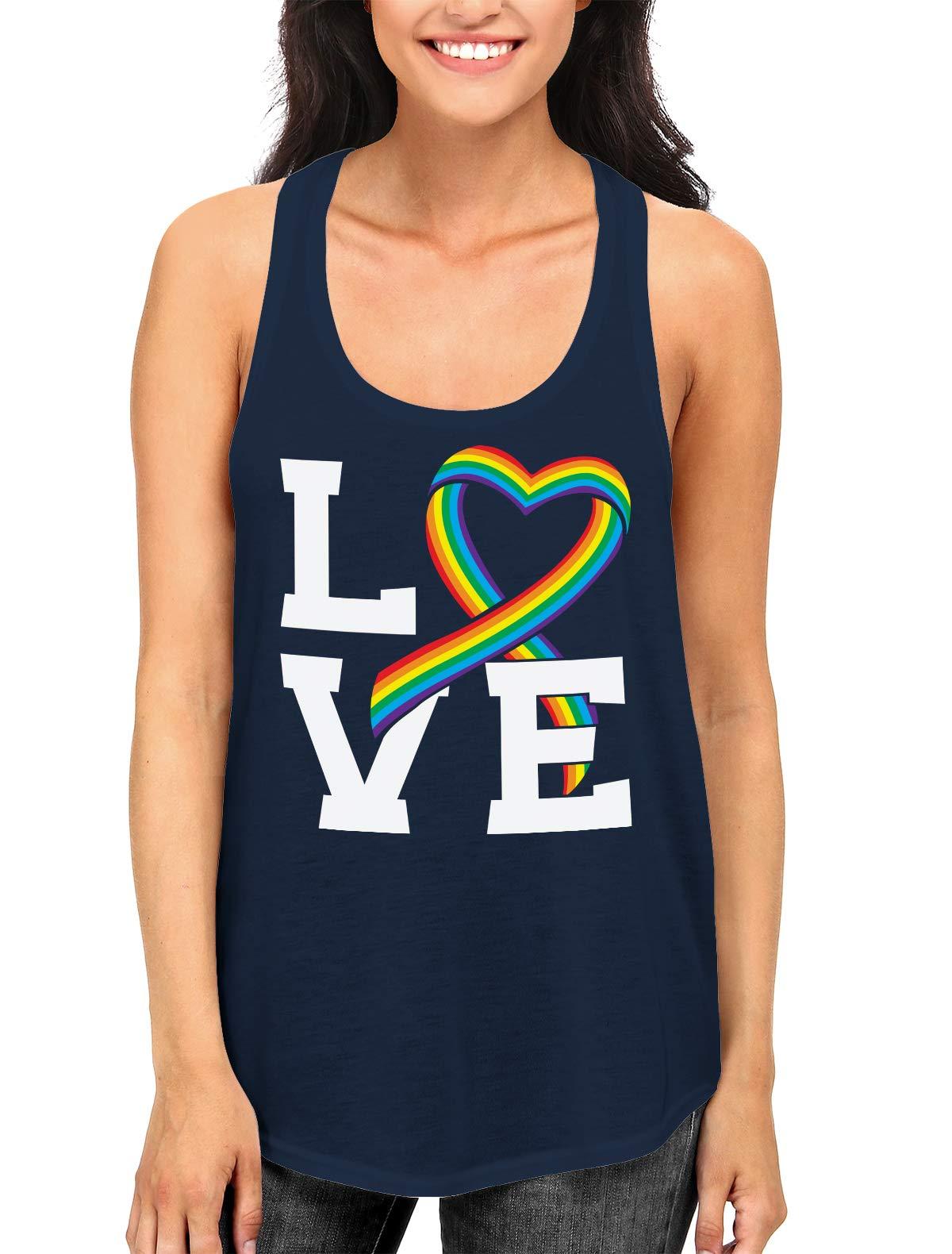 Apparel Love Rainbow Ribbon Racerback Tank Top Shirts