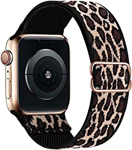 OHCBOOGIE Stretchy Solo Loop Strap Compatible with Apple Watch Bands 38mm 40mm 42mm 44mm ,Adjustable Stretch Braided Sport Elastics Weave Nylon Women Men Wristband Compatible with iWatch Series 6/5/4/3/2/1 SE,Cheetah&Leopard,38/40mm