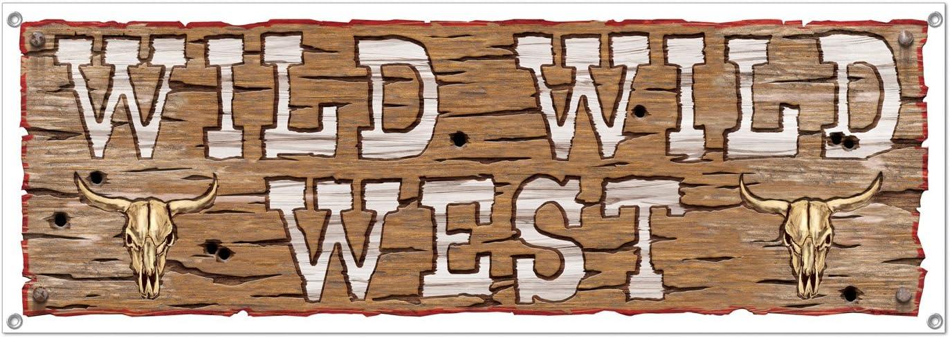 Beistle Wild Wild West Sign Banner, 5-Feet by 21-Inch