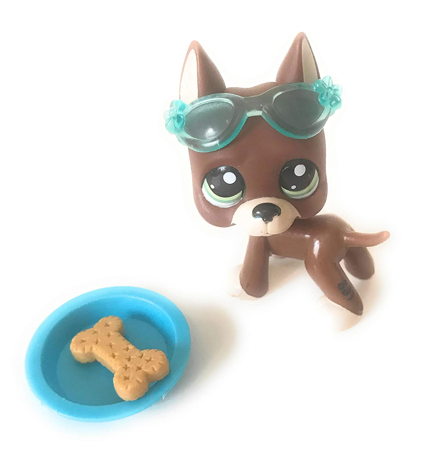 Rare Littlest Pet Shop LPS Brown Great Dane Dog Puppy bluee Dot Eyes Toy  1519