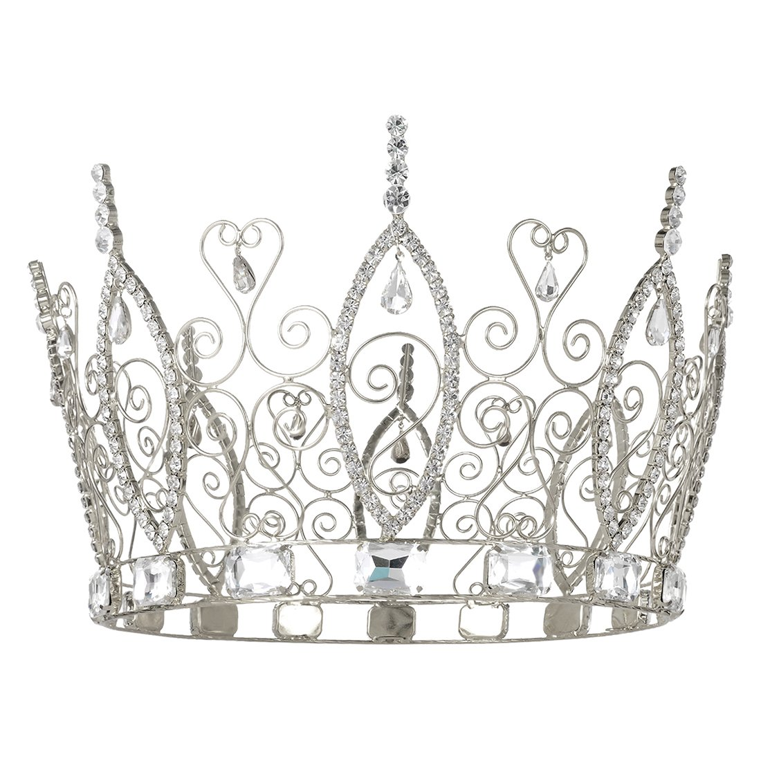 DcZeRong Pageant Prom Queen Crown Cake Topper Birthday Women Crowns Costume Homecoming Queen Crown Men's Crowns King Crowns For Men Pageant Party Prom Rhinestone Crystal Full Crowns