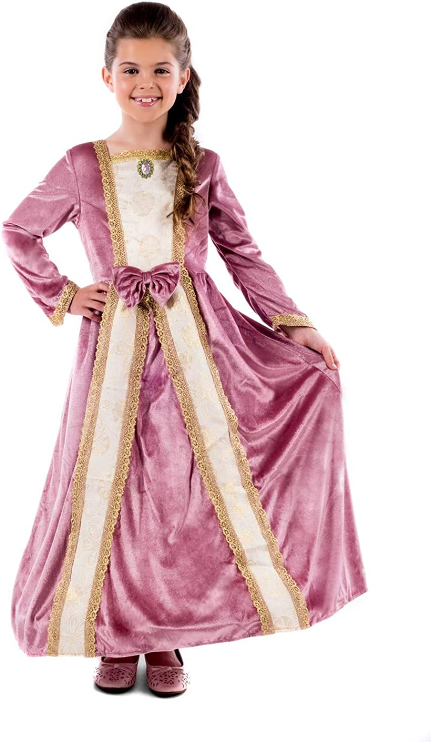 Kids Deluxe Princess Costume Girls Pink Royal Gown Queen Dress Outfit