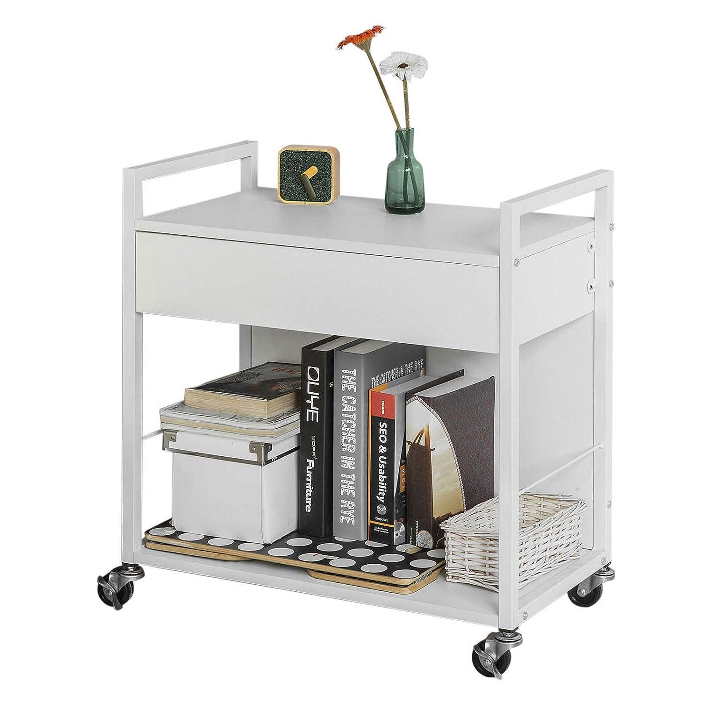 SoBuy FKW50-W, Desk Side Printer Shelf, Home Kitchen Serving Trolley Storage Trolley with Drawer, Storage Rack on Wheels