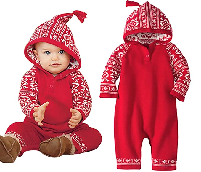 79e322fb592f Baby Boy Girl Long Sleeve Snowflake Deer Hoodie Christmas Romper Jumpsuit  Outfit Size 3-6