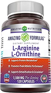Amazing Formulas L-Arginine/L-Ornithine 1500 Mg Per Serving, 120 Capsules-Supports Protein Matabolism, Promotes Peak Athletic Performance, Supports Detoxification & Circulation.