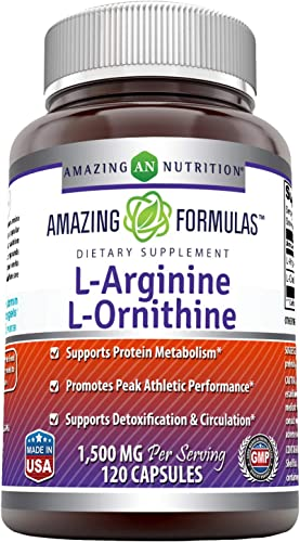 Amazing Formulas L-Arginine L-Ornithine 1500 Mg Per Serving, 120 Capsules-Supports Protein Matabolism, Promotes Peak Athletic Performance, Supports Detoxification Circulation.