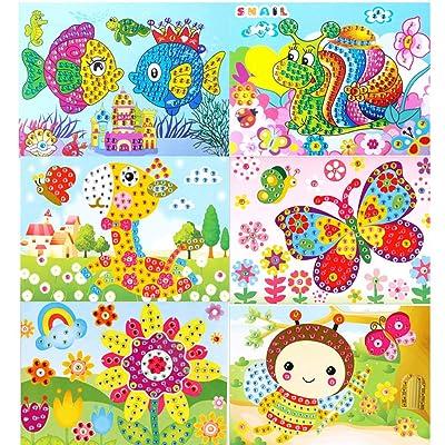 MISAZ Diamond Painting Kit for Kids, Handmade Shine Sparkle Mosaics DIY Flower Fairy Castle Cake Butterfly Mushroom Animal Theme Stickers Art Craft Educational Toys: Toys & Games