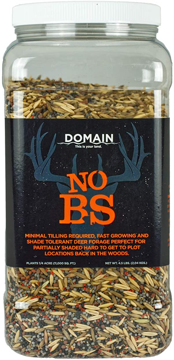 Domain Outdoor No BS Deer Food Plot Seed, 1/4 Acre, Finally a No Till Mix with Zero Fillers, No Heavy Equipment Required - Forage Oats, Clover, Forage Rape, Chicory, Radish