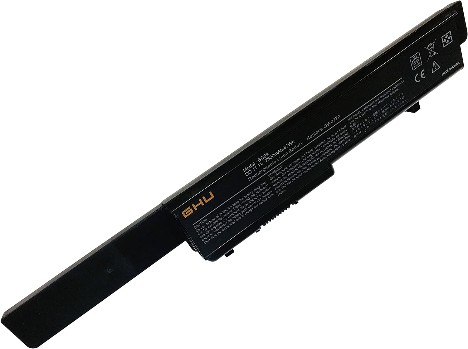 New GHU 9 Cell 87 WHR U164P N855P Battery for Dell Studio 17 1745 1747 1749 Laptop Fit N856P M905P Part # U150P 312-0196 312-0186 U150P OW077P M909P W080P Y067P