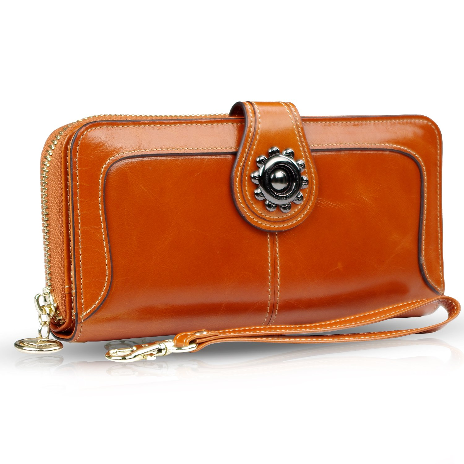 URBST womens wallet Large Capacity Leather Clutch Wallet with Wrist Strap (Soil yellow)