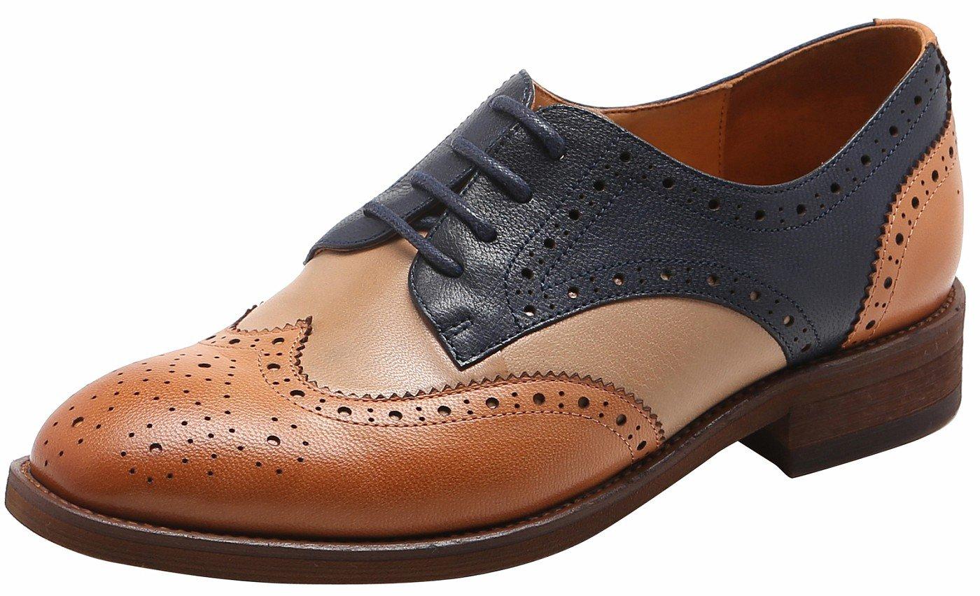 U-lite Blue Beige Brown Perforated Brogue Wingtip Leather Flat Oxfords Vintage Oxford Shoes Women 6.5