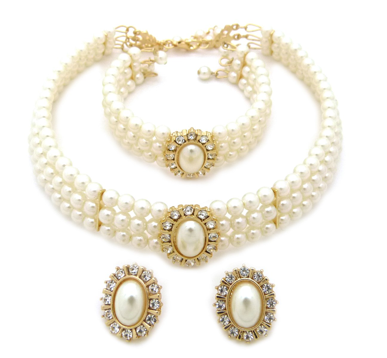 3 Rows Rhinestone Trimmed Simulated Pearl Choker Necklace, Bracelet, Pierced Earring 3 Set (Cream)
