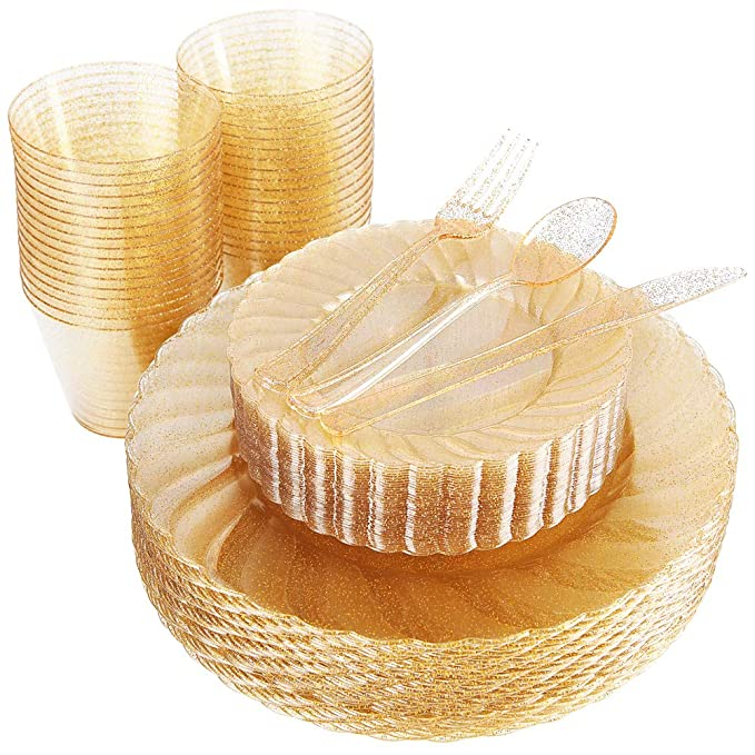 WDF 150pcs Gold Plastic Plates with Disposable Plastic Silverware&Gold Cups- Gold Glitter Design include 25 Dinner Plates,25 Salad Plates,25Forks, 25 Knives, 25 Spoons& 9OZ Plastic Cups (Gold Glitter)