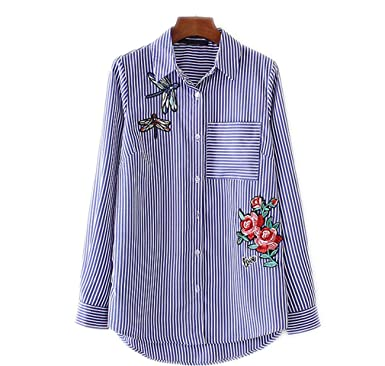 3c560cd2ed5f Women Floral Dragonfly Full Cotton Blouse Long Sleeve Long Shirt European  Ladies Casual Tops Blusas LT1275
