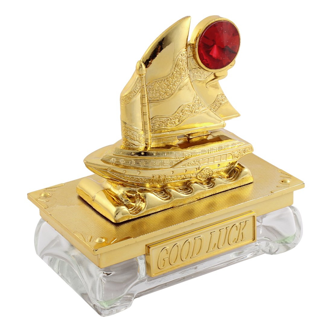 uxcell Auto Freshener Ship Shape Perfume Block Gold Tone