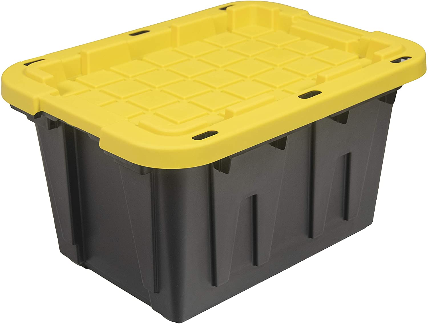 Original BLACK & YELLOW 12-Gallon Storage Containers with Lids, Stackable (4 Pack)
