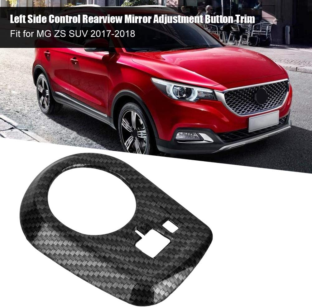 Left Side Control 1pc Rearview Mirror Adjustment Button Cover Trim Carbon Fiber for MG ZS 17 to 18