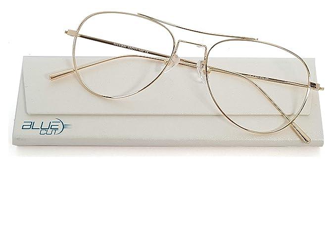 7e83ae942c Amazon.com: Blue Light Blocking Aviator Glasses Anti-Fatigue Non prescription  Computer Glasses Prevent Headaches Gamer Glasses: Clothing