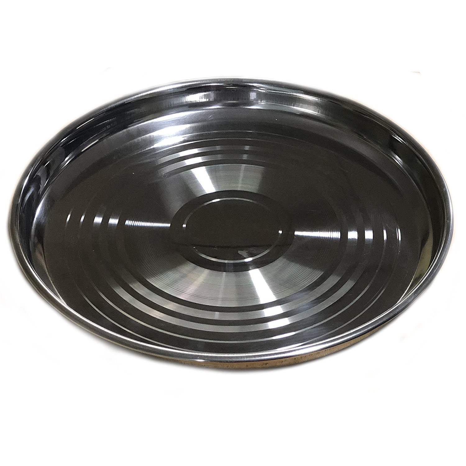 Khandekar (with device of K) Stainless Steel Round Strip Design Plates,Tableware Round Dish Plates For Dinner, Silver Color Size 11.5 X 11.5 Inch