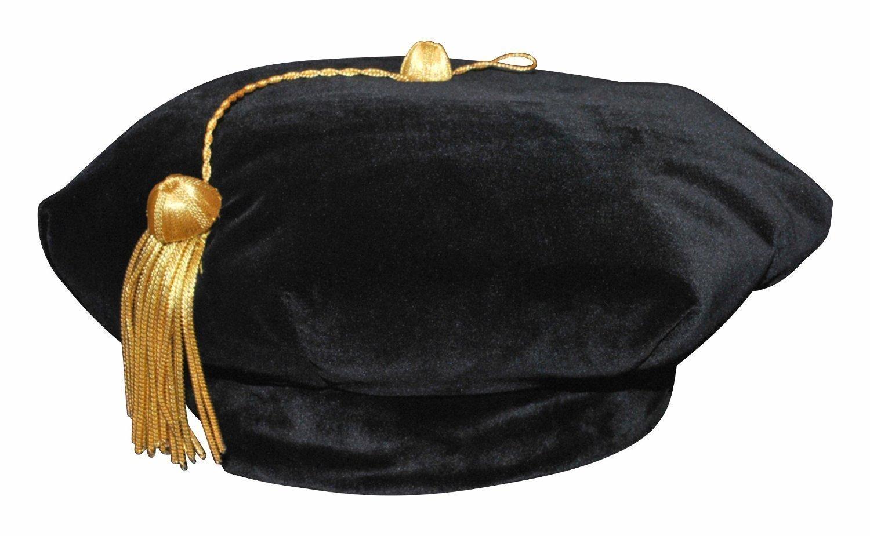 Newrara 6 Sides Graduation Doctoral Tam With Gold Bullion Tassel (Black)