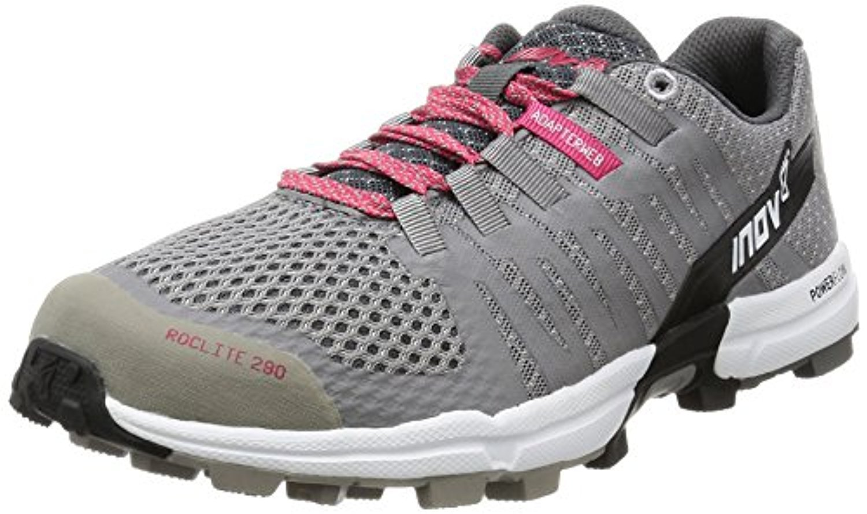 Inov8 Women's Roclite 290 Off Road Shoes & Workout Visor Bundle B06XSB85YB W9.5|Grey / Pink / White