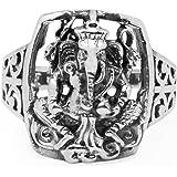 925 Sterling Silver Hindu Lord Ganesh Ganesha Elephant Hindu God of Fortune Filigree Band Ring