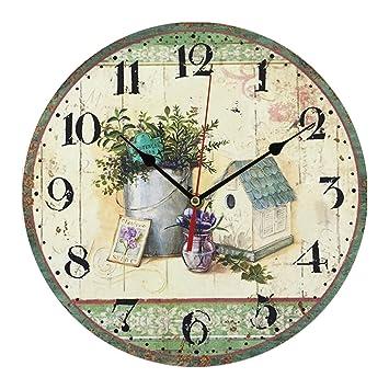 Dingcaiyi 12 Pulgadas Estilo Shabby Chic País Trabajo Despertador/Vintage Relojes De Pared para Sala De Estar, Dormitorio Y Cocina/Multi - Coloured Lindo ...
