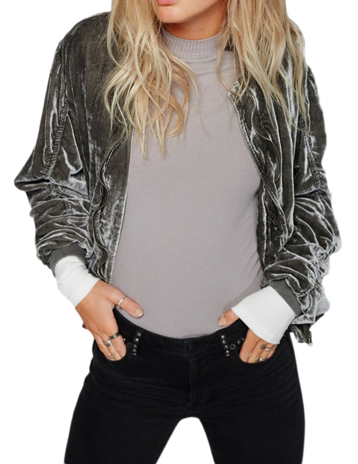 Richlulu Womens Crushed Velvet Ruched Hip Pockets Bomber Biker Jacket Blazer(S,Grey)