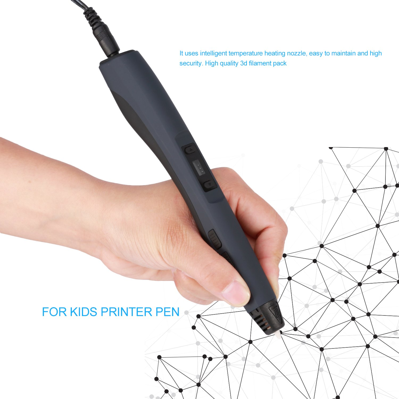 3D Penna Stampa, OCDAY Intelligente 3D Penna con Schermo LCD Compatibile con Filamento (F10 Nero)