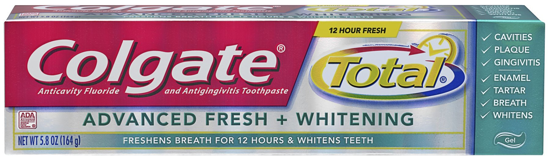 Colgate Total Advanced Fresh + Whitening Gel Toothpaste - 5.8 ounce (24 Pack)
