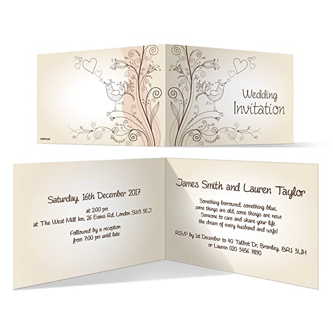Personalised Ivory A6 Wedding Order Of Service Booklet Love Bird And Tree Design