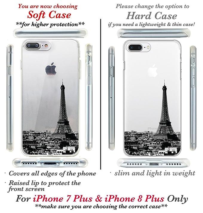 cc899ba7ff Amazon.com: CasesByLorraine iPhone 8 Plus Case, iPhone 7 Plus Case, Paris  City View Clear Transparent Case Eiffel Tower Flexible TPU Soft Gel  Protective ...