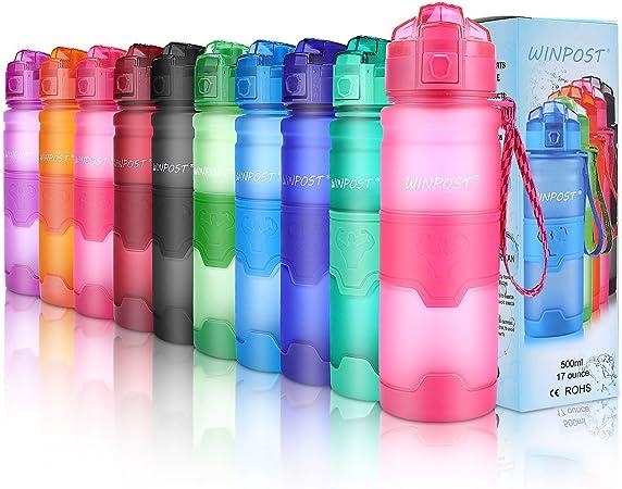 Imagen deBotella de agua deportiva, 500ml & 700ml y 1000ml-BPA Botella ecológica de plástico Tritan con filtro, tapa abatible, se abre con 1 clic, reutilizable con tapa a prueba de fugas para acampar, correr, gimnasio, yoga y aire libre