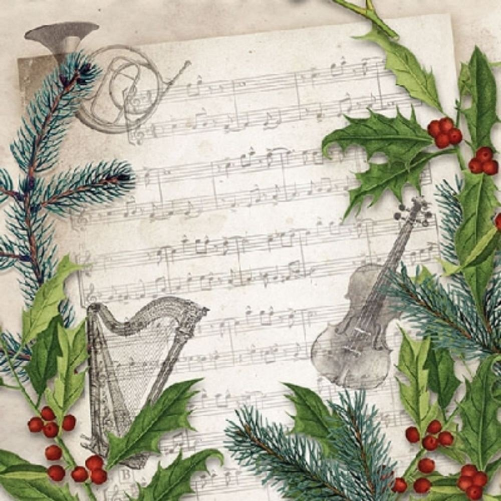 4 x Paper Napkins - Christmas Song - Ideal for Decoupage / Napkin Art Crafty Things