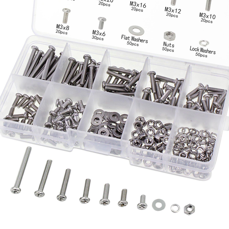 OCR Allen Head Socket Hex Grub Screw Stainless Steel M3-M8 Grub Screw Assortment Kit 270PCS Ocrtech