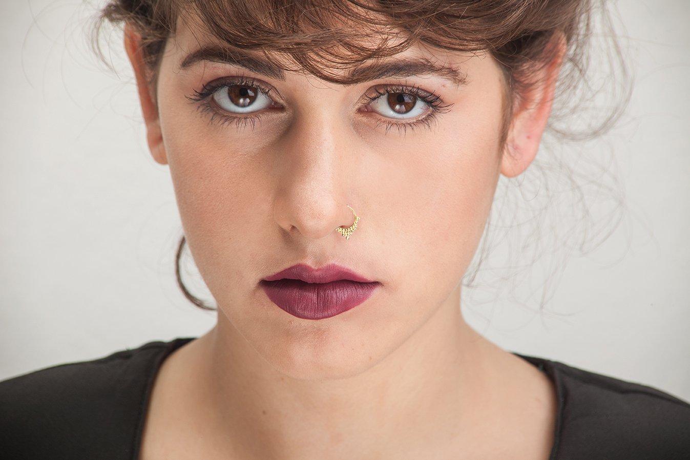 Studio Meme Designer Handmade Nose Rings available in Solid 14k Yellow Gold 20 Gauge 7-9mm