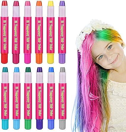 Kalolary Juego de tiza temporal para cabello, 12 colores mezclados no tóxicos, lavables, pelo, tiza, tinte para el cabello para niños, niñas y ...