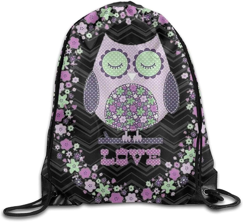 Love Owl Black Friend Unisex Gym Drawstring Shoulder Bag Backpack String Bags