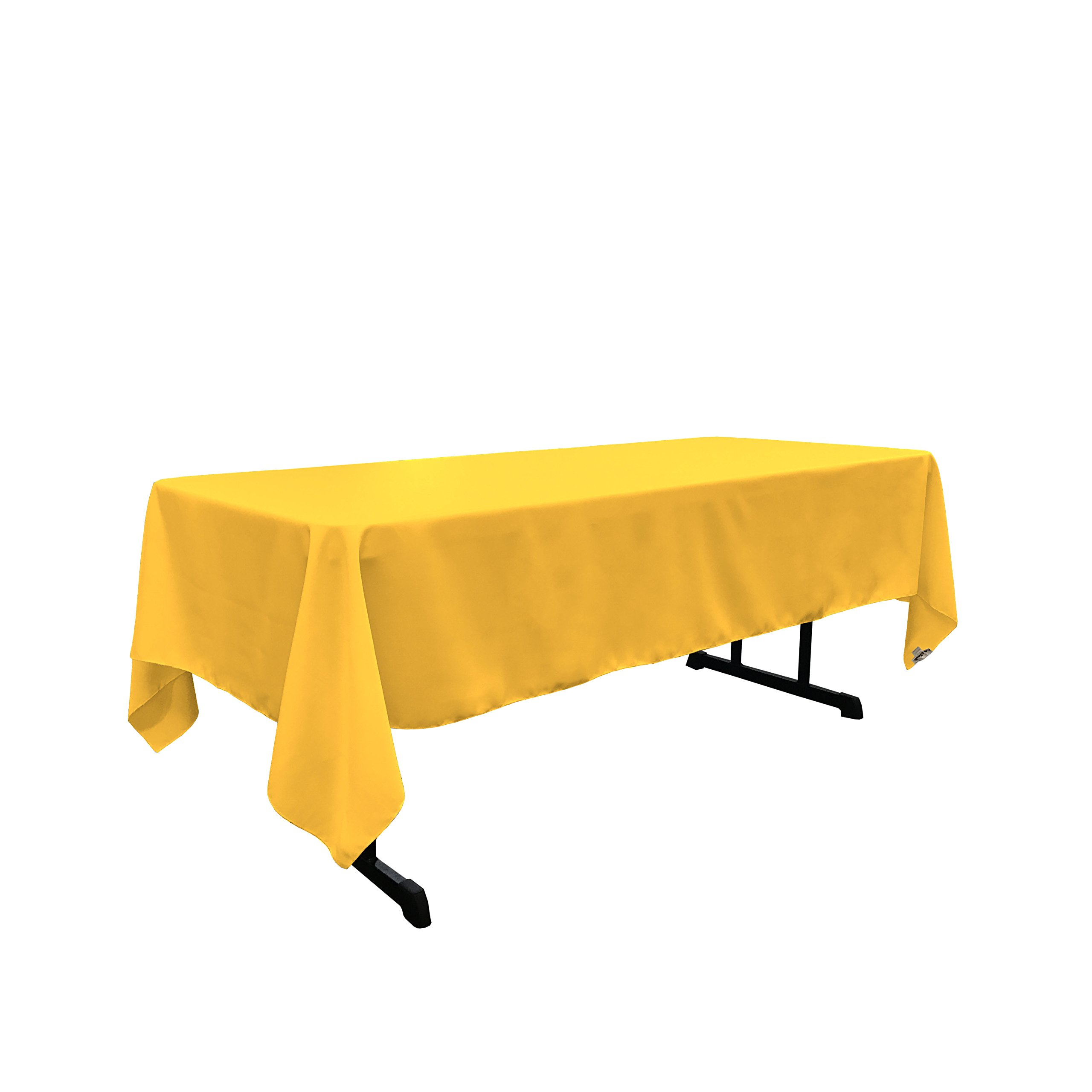 LA Linen Polyester Poplin Rectangular Tablecloth, 60 by 102-Inch, Yellow Dark
