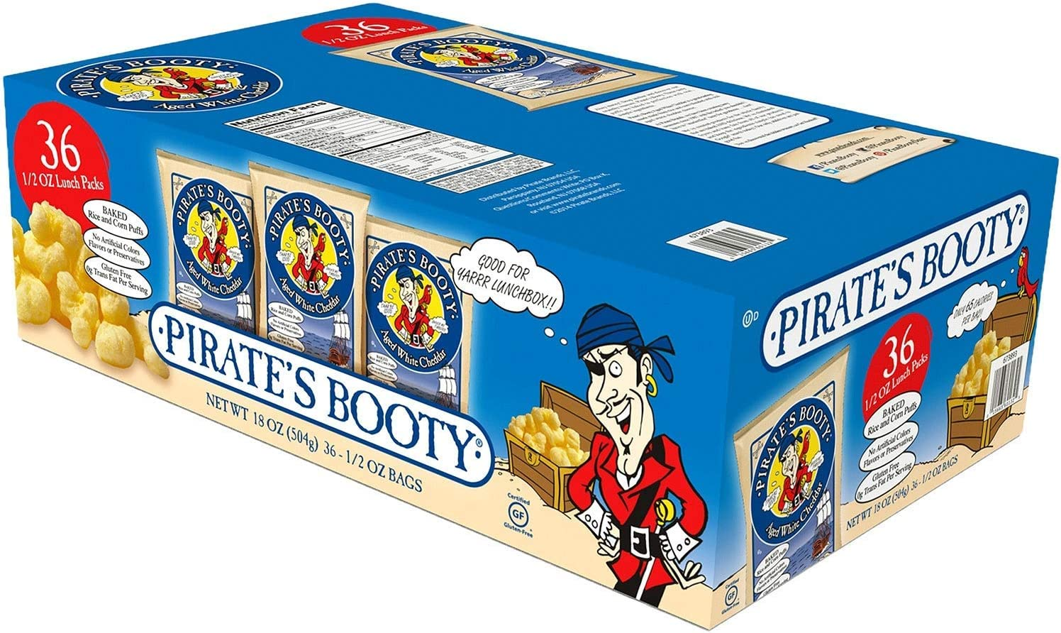 Pirate Brands Pirates Booty Popcorn, 0.5 oz, White