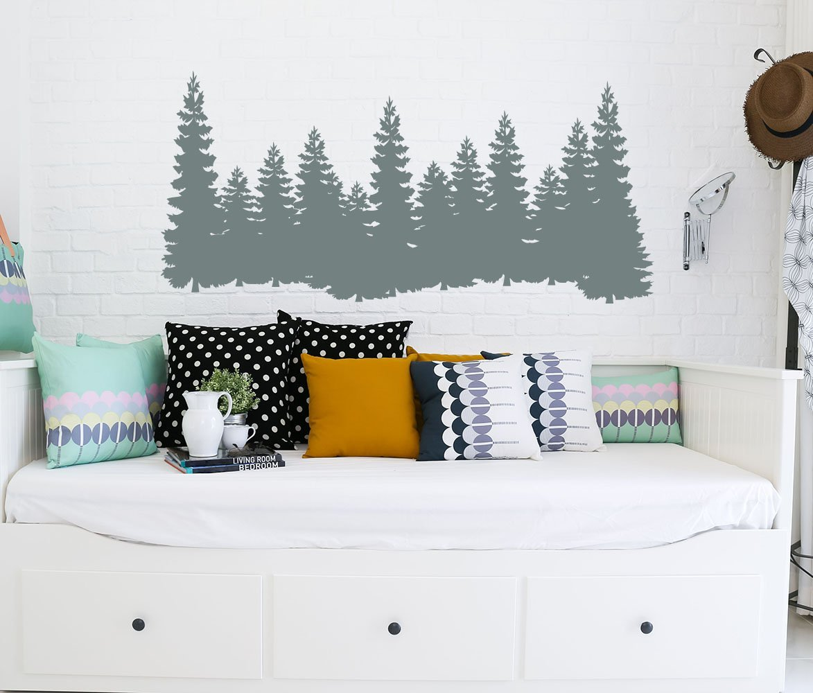 Pine Trees Wall Decal Forest Landscape Nature Vinyl Sticker Decorations Decals Home Decor Bedroom Nursery Interior NV129