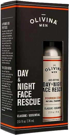 Olivina Men Age-Defying Day & Night Face Rescue, Bourbon Cedar, 2.5 Fluid Ounce