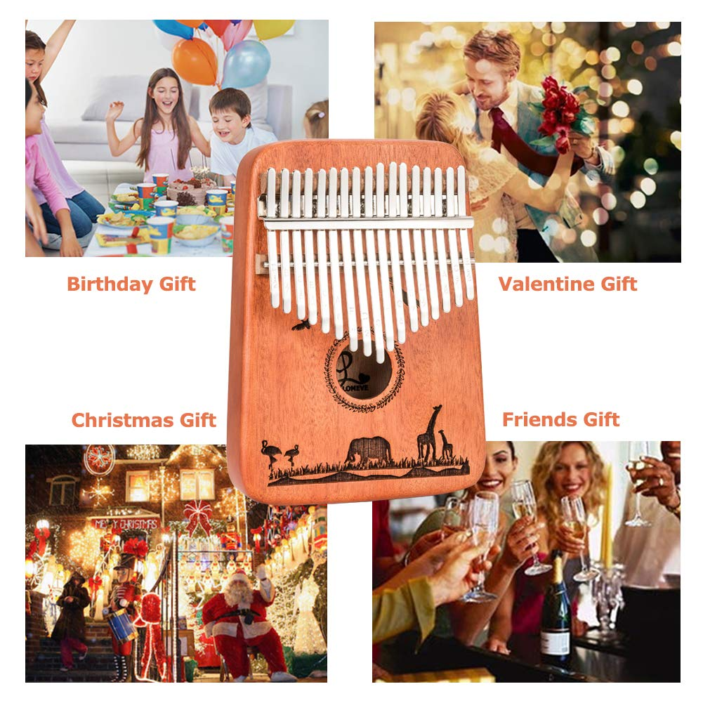 Kalimba 17 Keys Thumb Piano - Handmade Solid Mahogany Mbira Likembe Sanza with Tuning Hammer & Gift Accessories for Kids Adults Beginners Musicians by LOMEVE (Image #7)