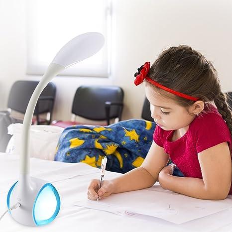 7w NocheLuz Niños Multicolor BlancaCon De Escritorio Le Rgb Lámpara Ambiente Mesa Para Estudiar wZNnkX80OP