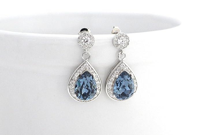 f6c3734e6 Amazon.com: Denim Blue Bridal Earrings, Navy Blue Wedding Earrings,  Swarovski Crystal Earrings, Blue Bridesmaid Earrings, Prom Jewelry: Handmade