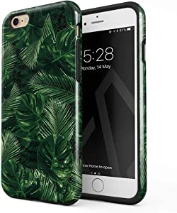 BURGA Phone Case Compatible with iPhone 6 / 6s - Tropical Exotic Summer Green Palm Tree Leaf Nature Plant Leaves Heavy Duty Shockproof Dual Layer Hard Shell + Silicone Protective Cover