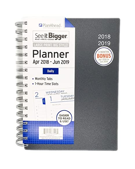 planahead see it bigger daily planner april 2018 june 2019 assorted colors 6