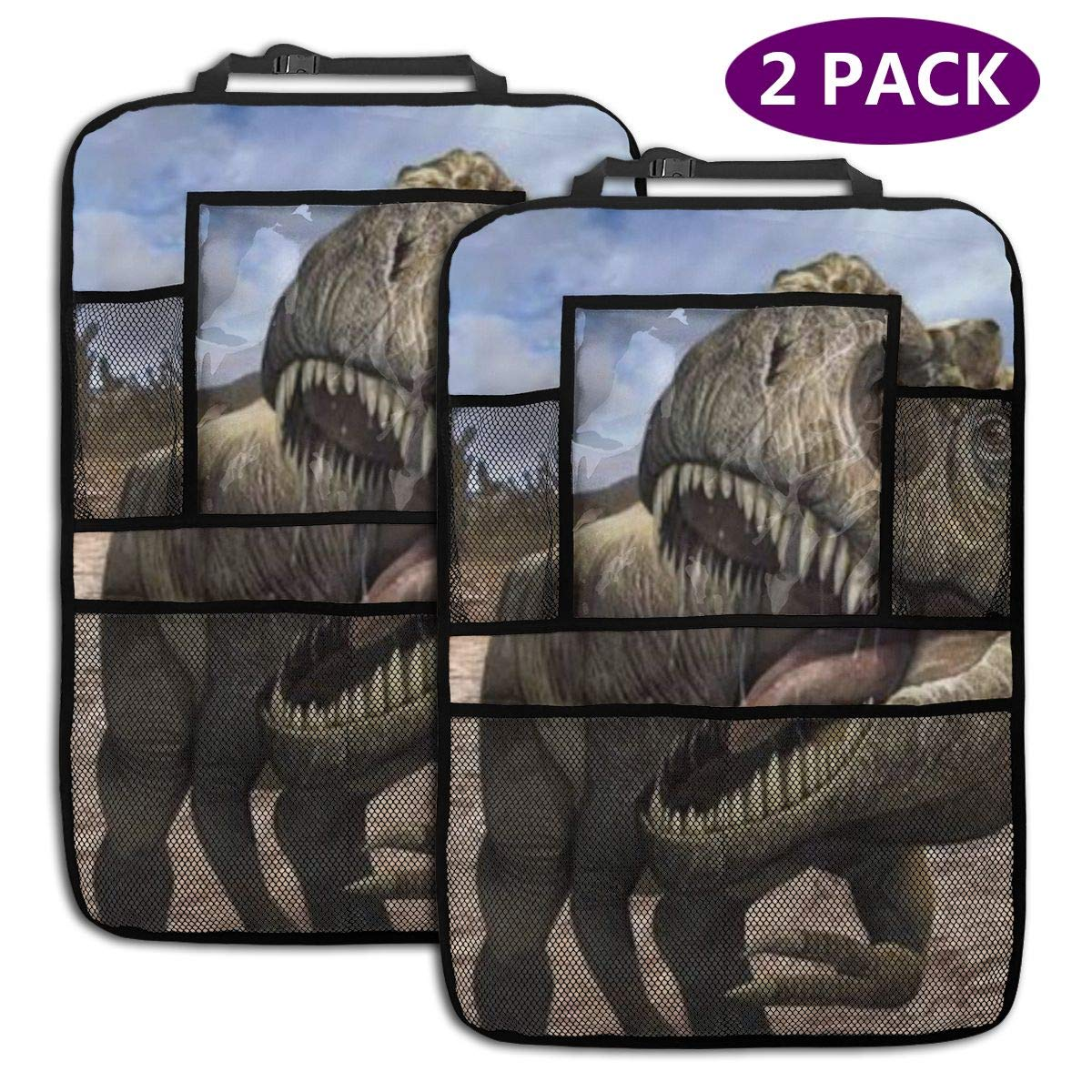 QF6FEICHAN Huge Dinosaur T Rex Car Seat Back Protectors with Storage Pockets Kick Mats Accessories for Kids and Toddlers by QF6FEICHAN