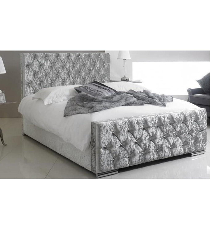 Chesterfield Luxus-Doppelbett, Knautschsamt - Silber - (Hergestellt ...